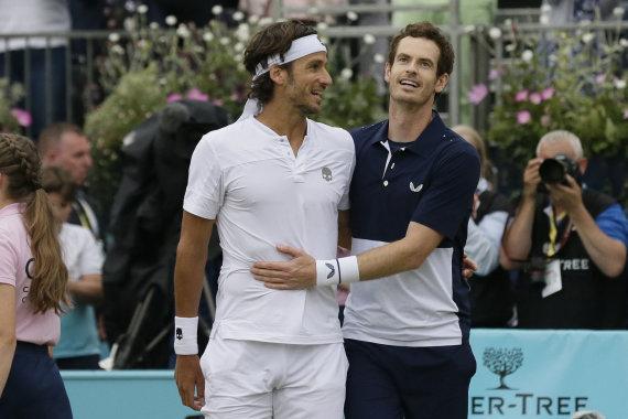 """""""Scanpix""""/AP nuotr./Feliciano Lopezas ir Andy Murray"""