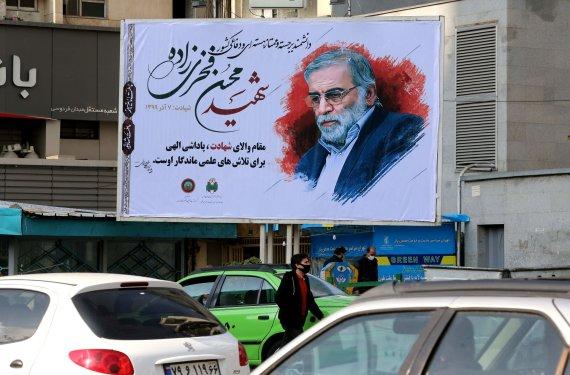 "AFP/""Scanpix"" nuotr./Mohseno Fakhrizadeh atvaizdas Teherane"
