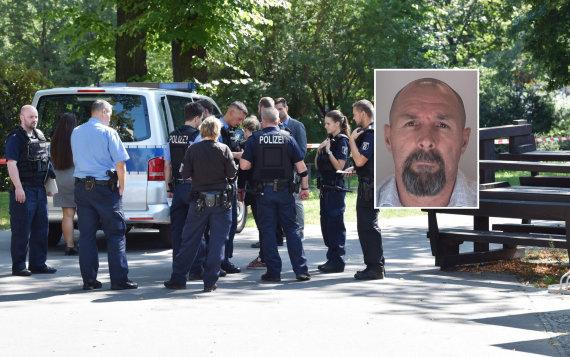 """""""Scanpix""""/AFP ir Berlyno policijos nuotr./Policija Z.Changošvilio nužudymo vietoje ir Vadimas Sokolovas"""
