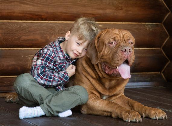 Fotolia nuotr./Vaikas su dideliu šunimi.