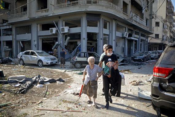 scanpix nuotr./Libano sostinė Beirutas kitą rytą po galingo sprogimo