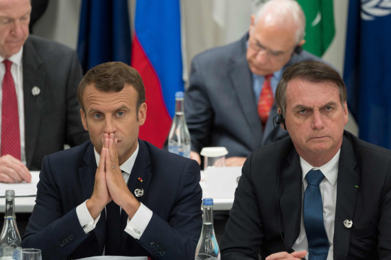 "AFP/""Scanpix"" nuotr./Emmanuelis Macronas ir Jairas Bolsonaro"
