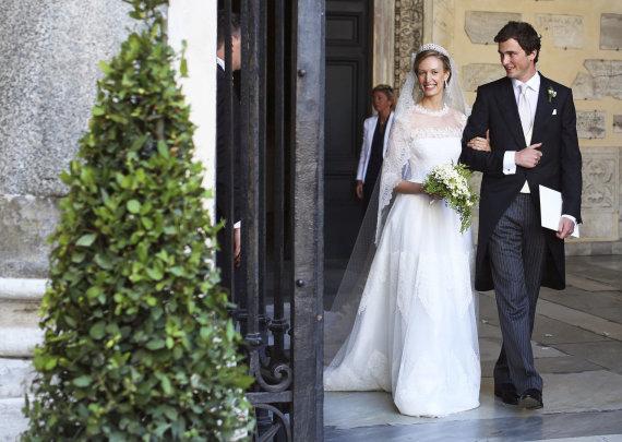 """Reuters""/""Scanpix"" nuotr./Belgijos princas Amedeo ir jo žmona Elisabetta (2014 m.)"