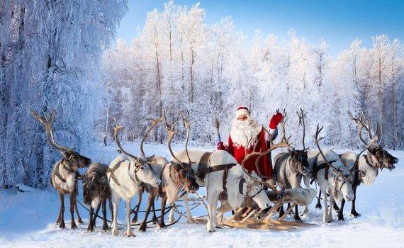 Shutterstock nuotr./Kalėdų senelis ir jo elniai, Laplandija, Suomija