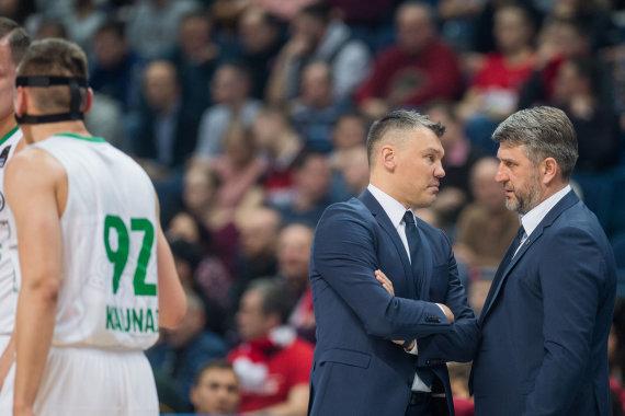 Alfredo Pliadžio nuotr./Šarūnas Jasikevičius ir Darius Maskoliūnas