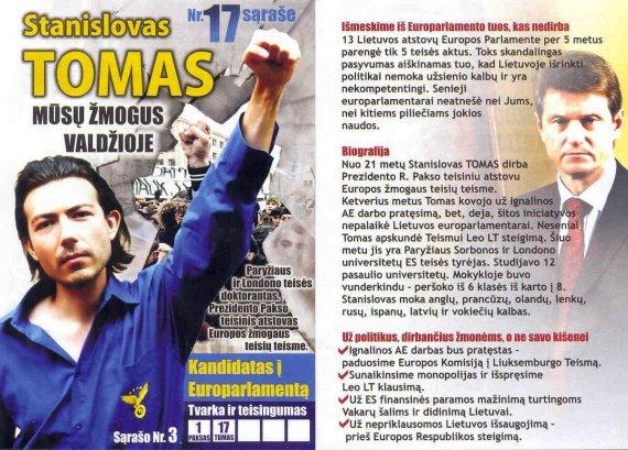 """""""Tvarka ir teisingumas"""" nuotr./Stanislovo Tomo rinkimų agitacija"""