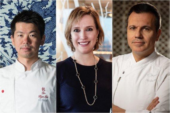 Organizatorių archyvo nuotr./Lietuvos gastronomijos forumo svečiai: Ryohei Hieda, Virginia Anne Newton ir Oriol Castro