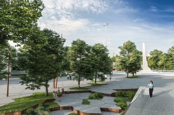 """""""Kauno plano"""" vizualizacija/Greta S.Dariaus ir S.Girėno stadiono esančios aikštės vizualizacija"""
