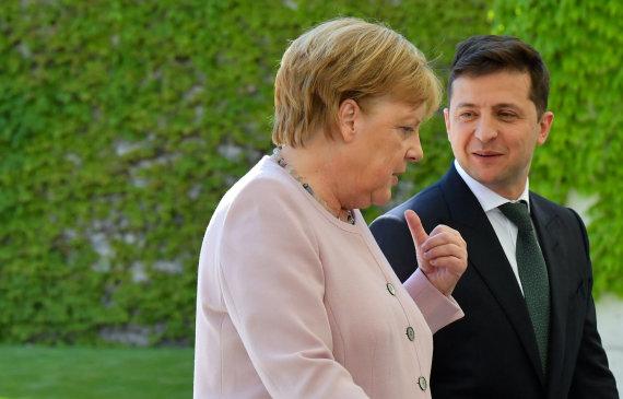 "AFP/""Scanpix"" nuotr./Angela Merkel ir Volodymyras Zelenskis"