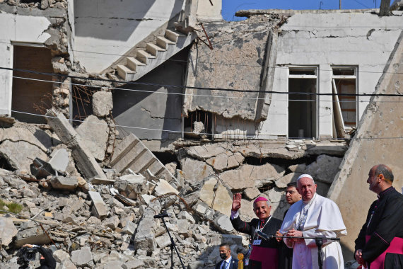 "AFP/""Scanpix"" nuotr./Popiežius Pranciškus Mosule"