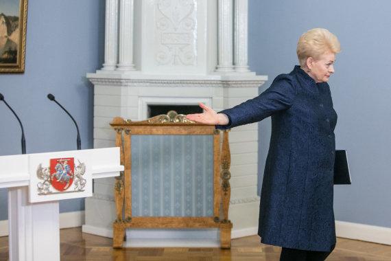 Juliaus Kalinsko / 15min nuotr./Prezidentė Dalia Grybauskaitė spaudos konferencijos metu