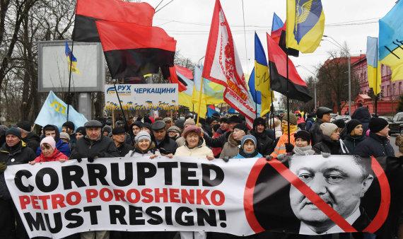 """AFP/""""Scanpix"""" nuotr./Protestas prieš Petro Porošenką"""