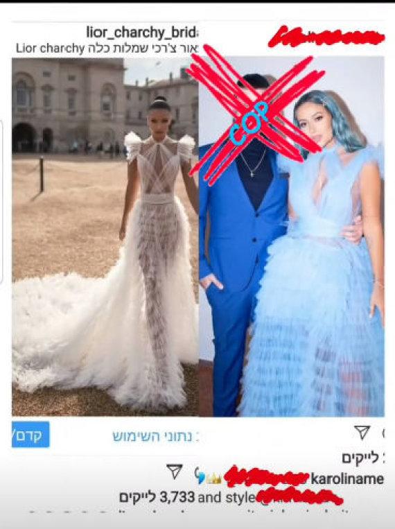 Stop kadras/Lior Charchy įrašas apie Karolinos Mescino suknelę