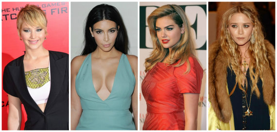 """Scanpix"" nuotr./Jennifer Lawrence, Kim Kardashian, Kate Upton ir Mary Kate Olsen"