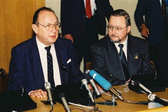 Vytauto Landsbergio archyvo nuotr./Hansas Dietrichas Genscheris ir Vytautas Landsbergis
