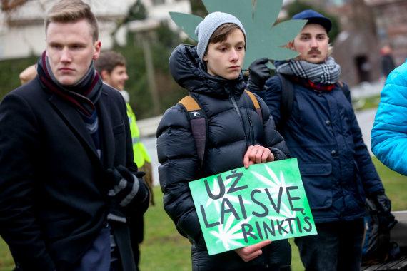 Vidmanto Balkūno / 15min nuotr./Jaunimo piketas prie Seimo už kanapių dekriminalizavimą