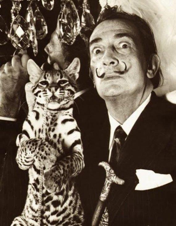 sotheby.com nuotr./Salvadoras Dali su ocelote Babou