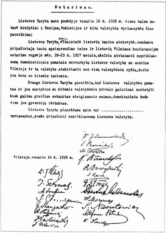 Faksimilė/Nepriklausomybės aktas