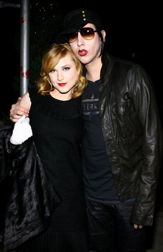 """AFP/""""Scanpix"""" nuotr./Evan Rachel Wood ir Marilynas Mansonas (2007 m.)"""