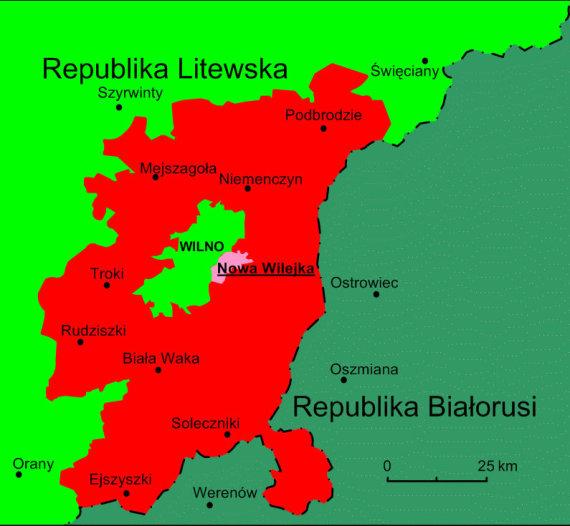 Wikimedia Commons CC BY-SA 4.0 pav./Planuota Vilniaus krašto lenkų autonominio rajono teritorija
