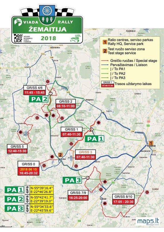 """""""Rally Žemaitija 2018"""" žemėlapis"""