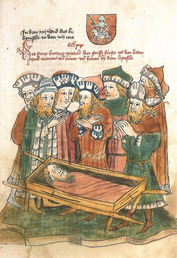 Wikimedia Commons / Public Domain pav./Vytauto Didžiojo mirties iliustracija 1443 m. knygoje