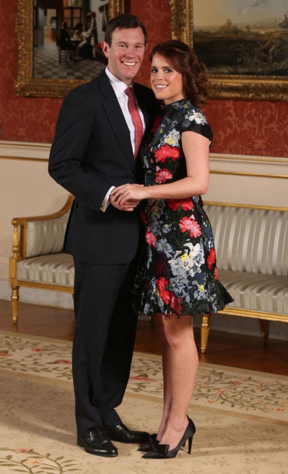 """AFP/""""Scanpix"""" nuotr./Princesė Eugenie ir jos sužadėtinis Jackas Brooksbankas"""