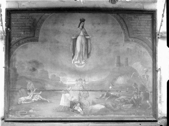 epaveldas.lt nuotr. /Maro paveikslas šv. Petro ir Povilo bažnyčios sienoje, XX a. 4 dešimtmečio nuotrauka