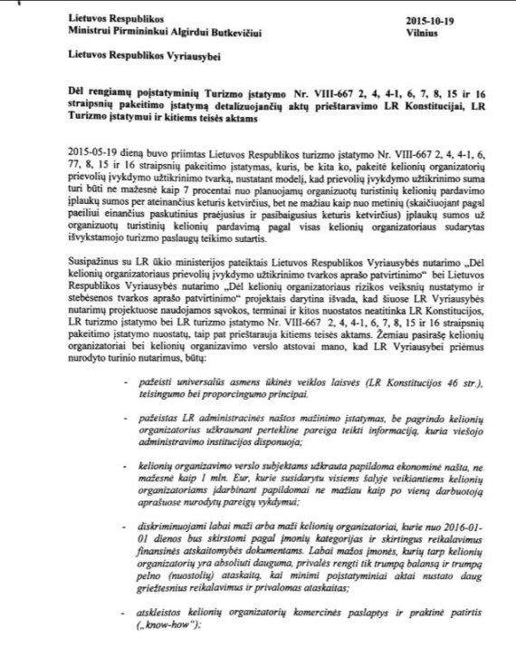 Kelionių organizatorių kreipimasis ir pastabos dėl Turizmo įstatymo