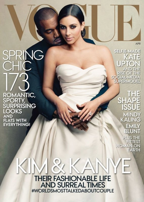 """Vogue"" viršelis/Annie Leibovitz nuotr./Kim Kardashian ir Kanye Westas"