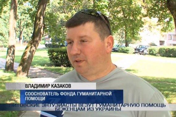 """Organizacijos """"Karas ir taika"""" steigėjas Vladimiras Kazakovas kalba per Rusijos televiziją."""