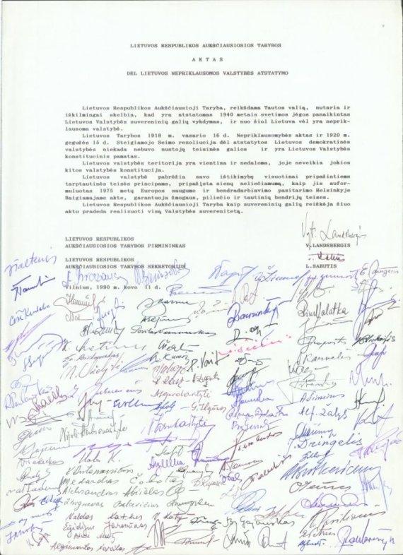 Užsienio reikalų ministerijos nuotr. /Kovo 11-osios aktas
