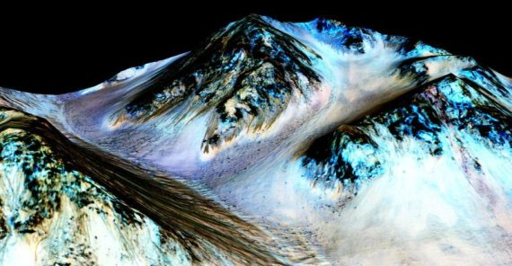 NASA/JPL/Arizona state university/Dryžiai Marse, kuriuos suformavo tekntis vanduo, 2015 m.