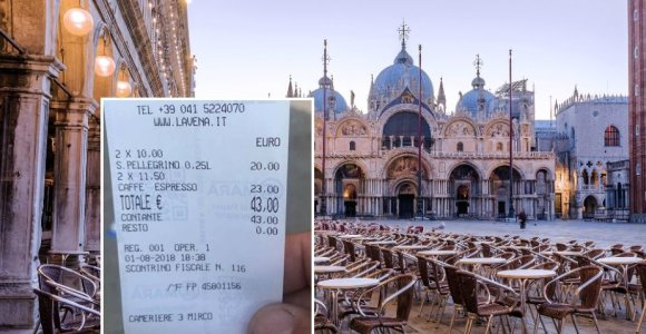 Venecijoje turistai už vandenį ir kavą gavo 43 eurų sąskaitą