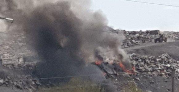 Klaipėdos pašonėje esančiame Dumpių sąvartyne kilo gaisras: ugniagesiai budės visą naktį