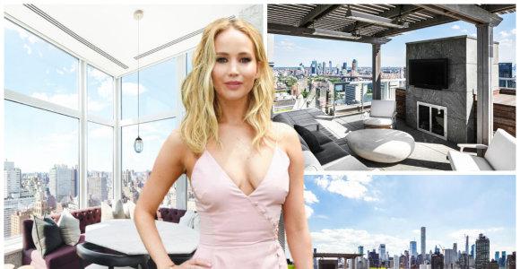 """""""Bado žaidynių"""" aktorė Jennifer Lawrence parduoda penthausą Manhatane su kvapą gniaužiančia panorama"""