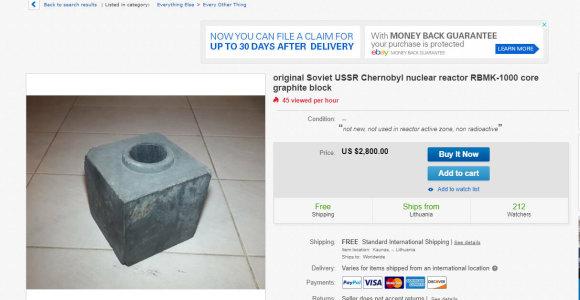"""Kaunietis """"Ebay"""" parduoda RBMK reaktoriaus šerdies detalę iš Černobylio"""