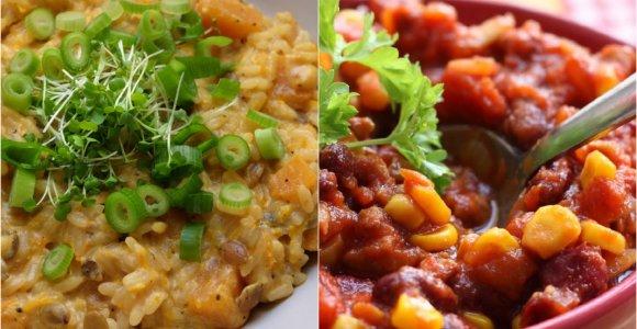 """auGalingas pirmadienis: apelsinų rizotas su moliūgais ir troškinys """"Chilli sin carne"""""""