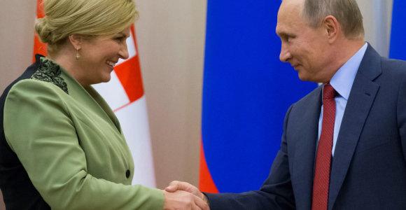 """Kroatijos prezidentė patikino V.Putiną, jog """"Trijų jūrų iniciatyva"""" nenukreipta prieš Rusiją"""