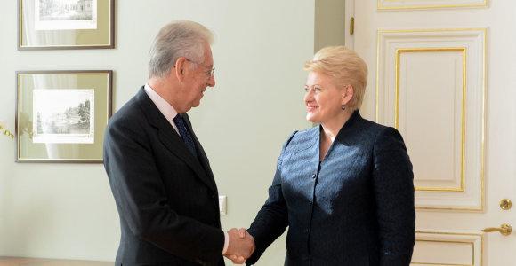 Prezidentė susitiko su Italiją per krizę išgelbėjusiu buvusiu premjeru Mario Monti