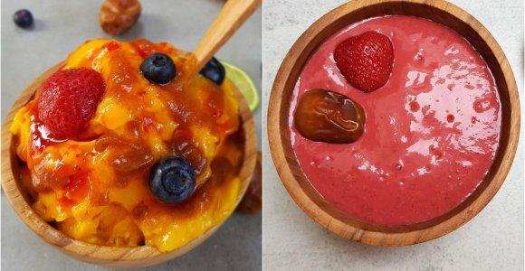 auGalingas pirmadienis: mangų ledai su datulių karamele ir braškinis desertas