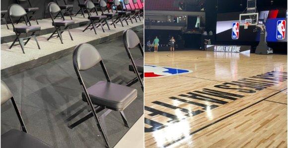 """NBA ruošiasi atnaujinimui: atstumas tarp atsarginių ir didžiulis """"Black Lives Matter"""" užrašas"""