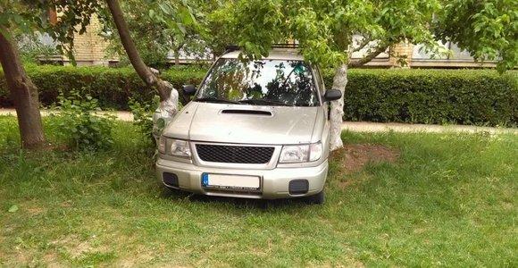 Velnio lašai sutrukdė išvažiuoti iš kiemo – Kaune automobilis įstrigo tarp medžių