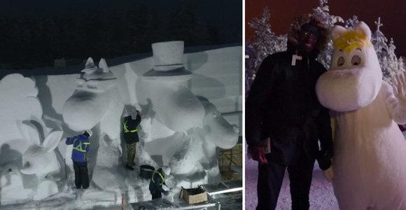 Įspūdingame iš 70 t ledo pastatytame parke atgijo visų mylimi personažai