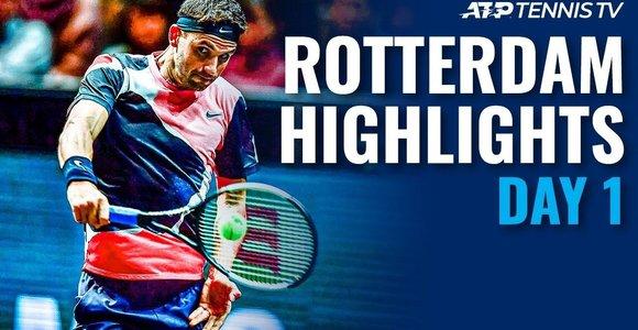 """Pirmosios """"ABN AMRO World Tennis Tournament"""" dienos apžvalga"""
