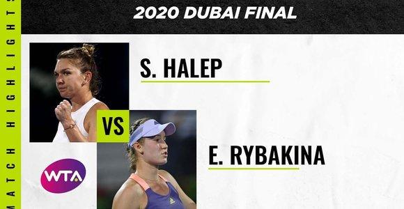 """""""Dubai Duty Free Tennis Championships"""" finale – dramatiška S.Halep pergalė prieš E.Rybakiną"""