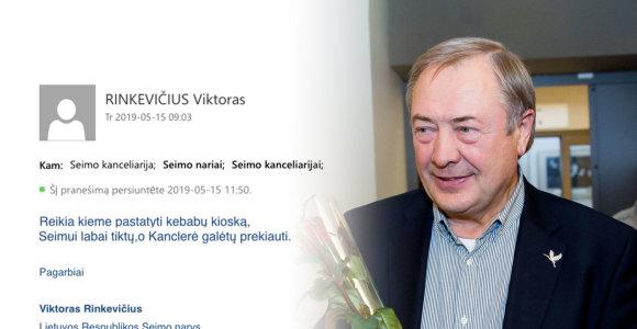 """""""Valstietis"""" Viktoras Rinkevičius Seimo kanclerei pasiūlė prekiauti kebabais iš kiosko"""
