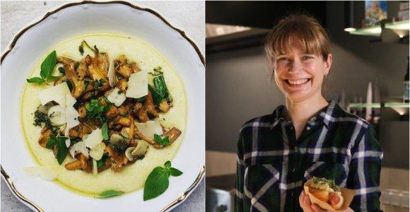 """""""Bulvių košės"""" receptas: keptos voveraitės su polenta ir česnakiniu padažu"""