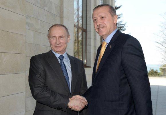 """""""Scanpix""""/ITAR-TASS nuotr./Vladimiras Putinas ir Recepas Tayyipas Erdoganas"""
