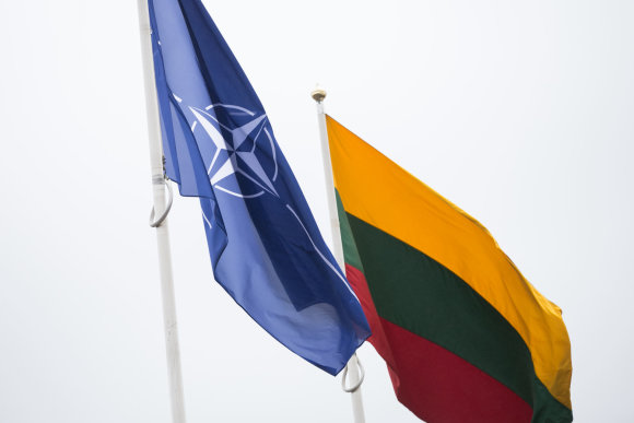 Žygimanto Gedvilos / 15min nuotr./NATO ir Lietuvos vėliavos